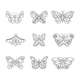 Set of linear flat butterfly outline