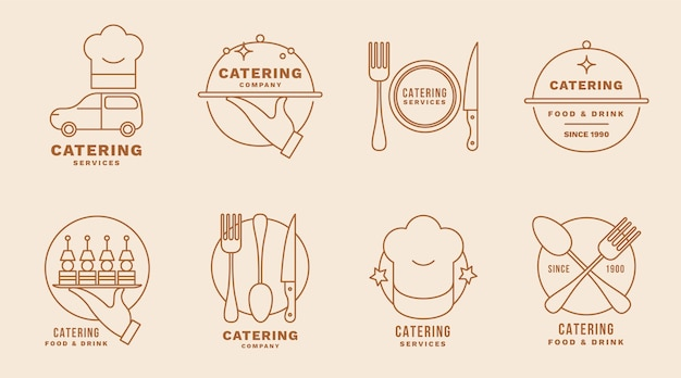Set of linear flat catering logos