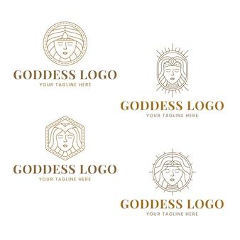 Set of linear goddess logo templates