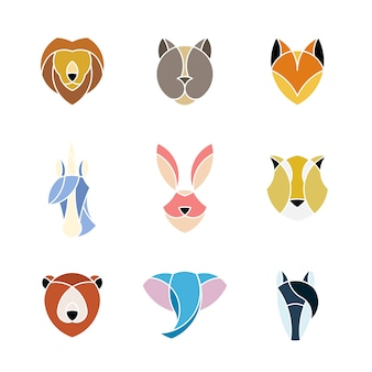 Set of linear graphic of animal heads