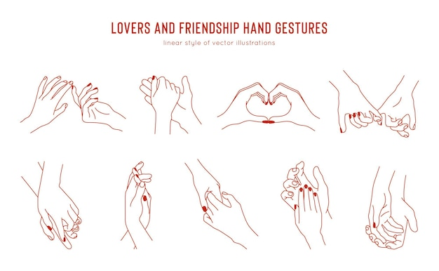 Set of linear holding hands gestures, logo design template. love and friendship