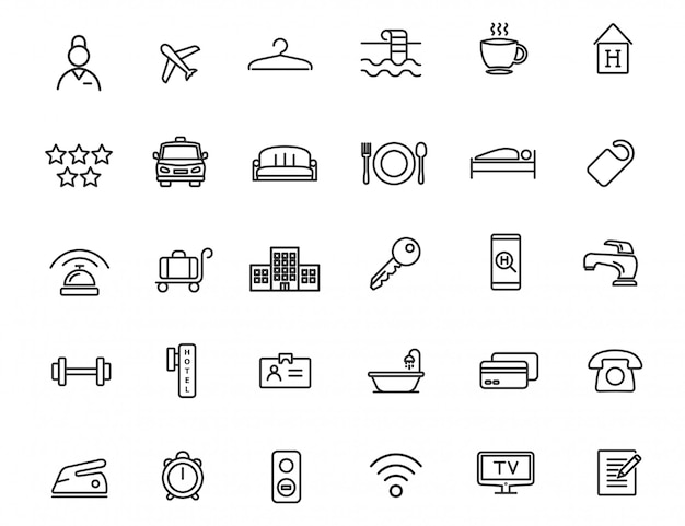 Set of linear hotel icons. travel icons in simple design