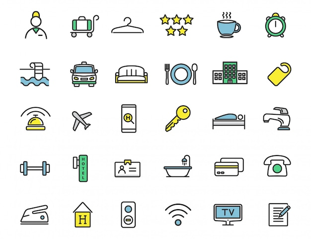 Set of linear hotel icons travel icons