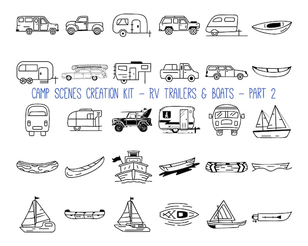 Set of linear icons of camper trailers. part 2