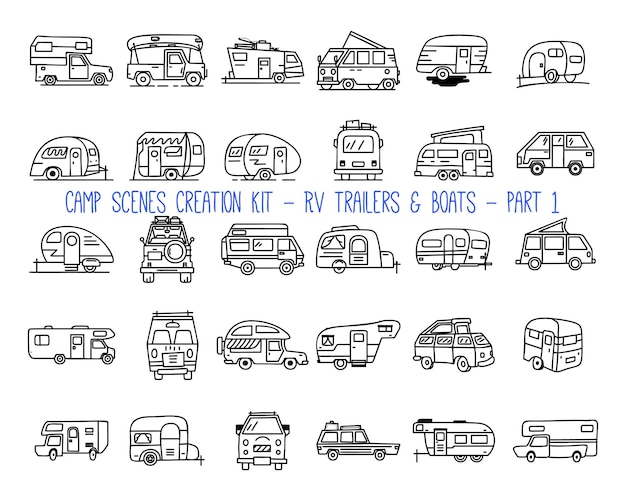 Set of linear icons of camper trailers