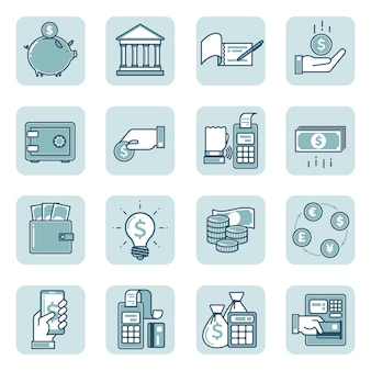 Set of linear icons on finance and banking