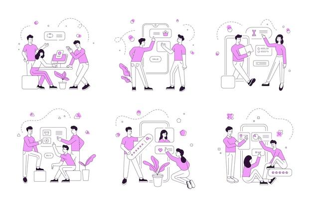 Set of linear illustrations with modern men