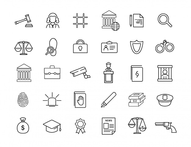 Set of linear jurisprudence icons. law icons in simple design.