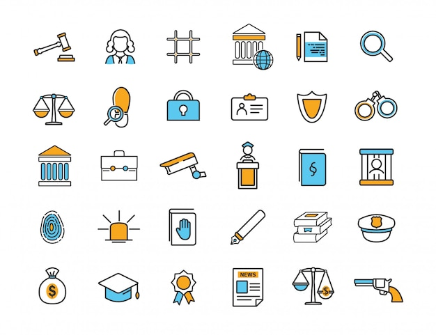 Set of linear jurisprudence icons law icons