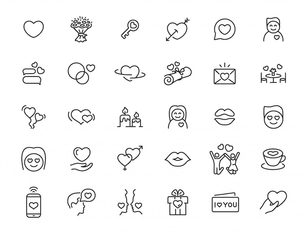 Set of linear love icons. relationship icons in simple design. vector illustration