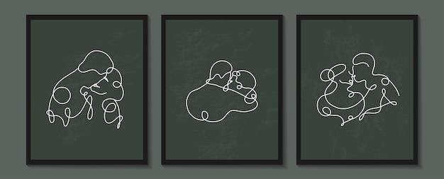 선형 연인 포스터를 설정합니다. 사람들의 연속적인 선형 실루엣입니다. 아바타의 개요 손으로 그린. 미용실, 메이크업 아티스트, 스타일리스트를 위한 최소한의 스타일의 선형 로고