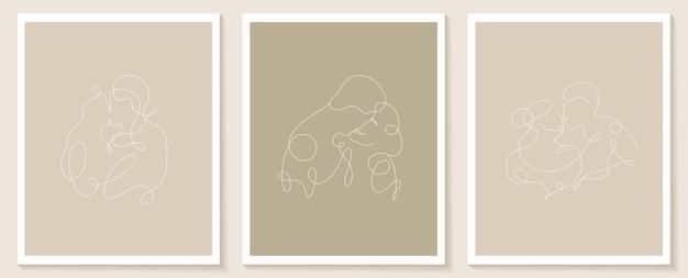 線形の恋人のポスターを設定する人々の連続的な線形のシルエットアバターの手描きの輪郭を描く