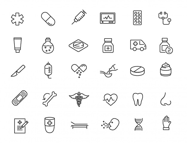 Set of linear medical icons