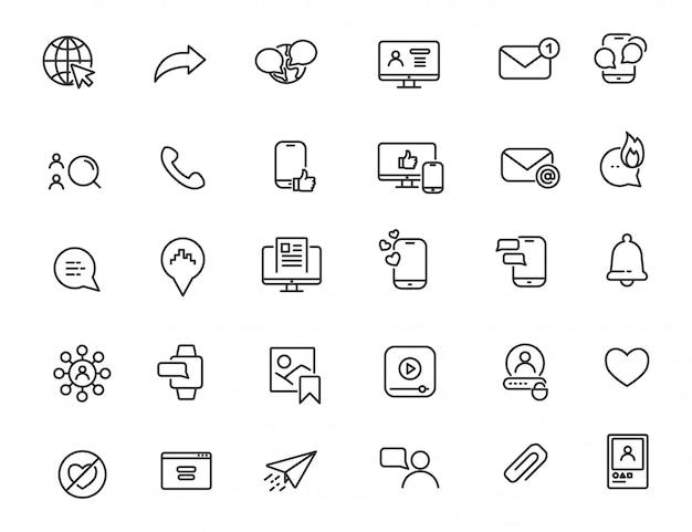 Set of linear social media icons