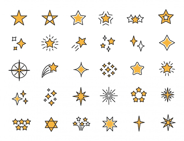 Set of linear stars icons stars twinkle icons