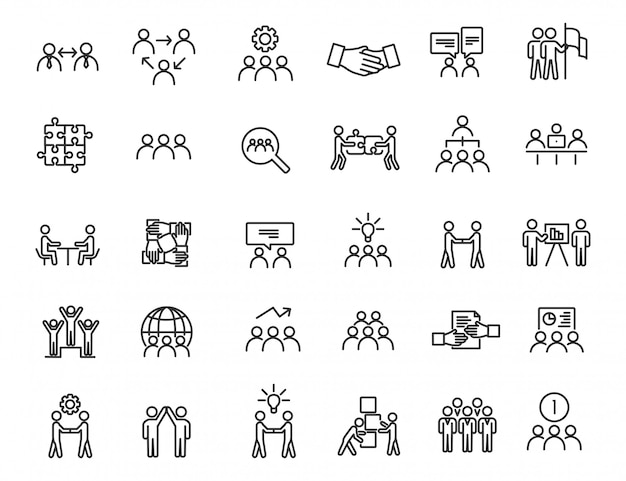 Set of linear teamwork icons. communication icons in simple design.