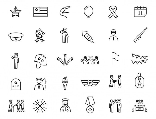 Set of linear veterans day icons. military icons in simple design.