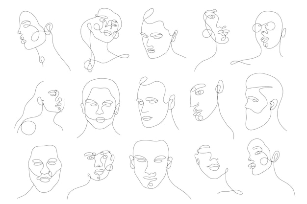 Set linear woman and man portraits and floral elemants