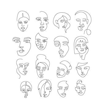 線形の女性の肖像画を設定します。女性の顔の連続線形シルエット。手描きのアウトラインアート
