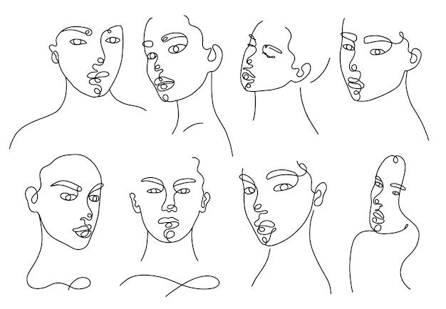 Установите линейные женские портреты. непрерывный линейный силуэт женского лица. наброски рисованной аватаров девушек. линейный гламурный логотип в стиле минимализма для салона красоты, визажиста, стилиста.