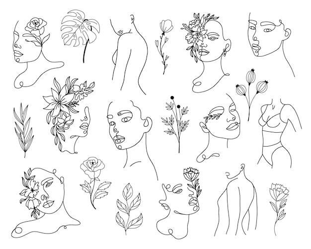 Set linear woman portraits and floral elemants
