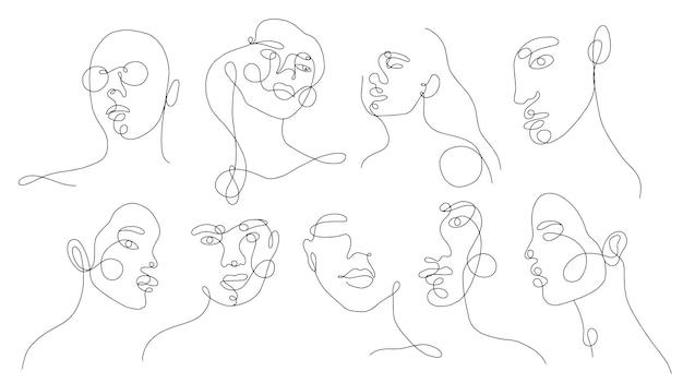 Set linear woman portraits