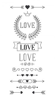 Set of lined design elements for valentines day