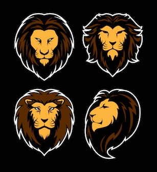 Set of lion head logo. mascot sport