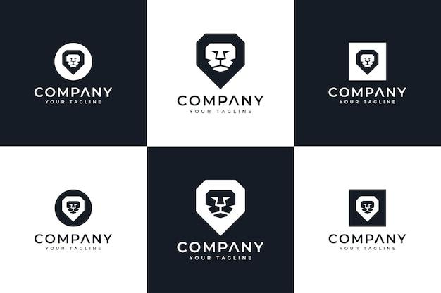 Set of lion minimalist logo creative design for all uses