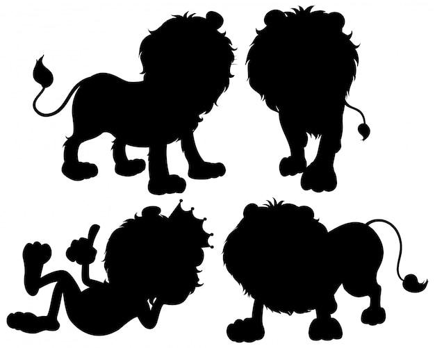 Set of lion silhouette