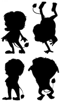 Set of lion silhouette