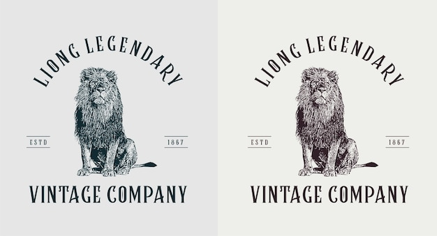 Set of lion vintage logo