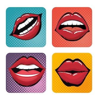 Set lips female d icons