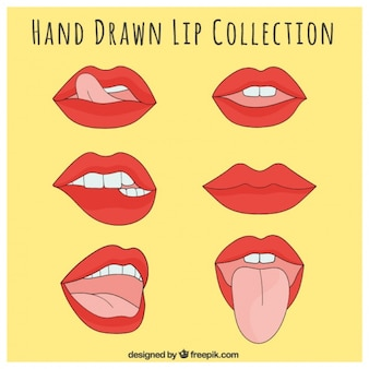 Set of lips with sensual gestures