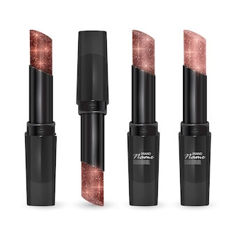 Set of lipsticks of colors from brown to bodily, lipsticks with glittering texture