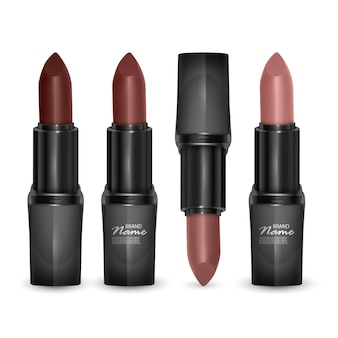 Set of lipsticks of colors from brown to bodily, lipsticks