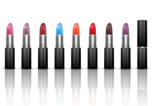 Set of lipsticks in realistic style.