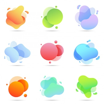 Set of liquid color abstract geometric shapes
