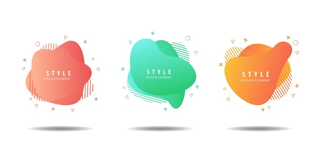 Set of liquid colorful abstract shapes fluid design
