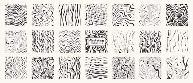 Set of  liquid hand drawn patterns isolated vector textures made with ink pencil brush