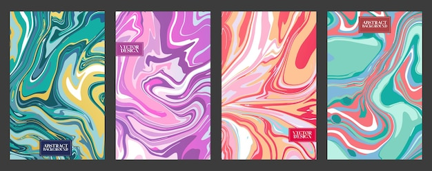 Set of liquid marble or epoxy abstract bright backgrounds. contemporary trendy prints with marble slab or slice texture for cover designs, wedding invitations, case, wrapping paper, greeting cards.