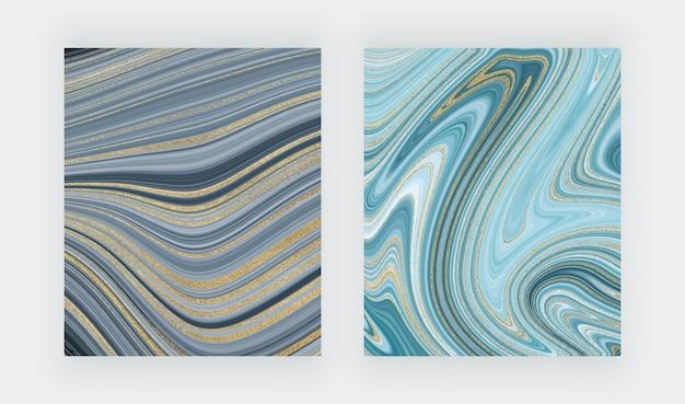 液体大理石のテクスチャを設定します。青と金色のキラキラ水墨画抽象的なパターン。