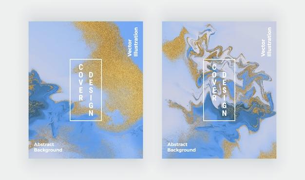 液体大理石のテクスチャを設定します。青と金色のキラキラ水墨画の抽象的なパターン。