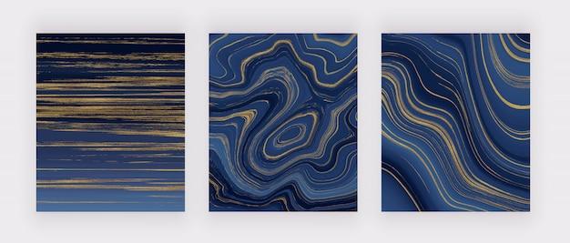 액체 대리석 질감을 설정하십시오. 파란색과 황금색 반짝이 잉크 그림 개요. 현대 미술의 최신 유행 배경.