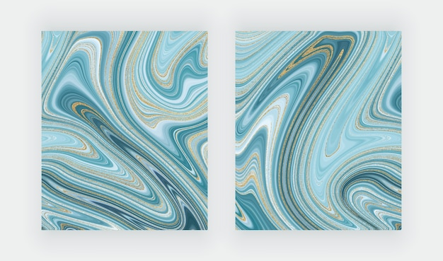 액체 대리석 질감을 설정하십시오. 파란색과 황금색 반짝이 잉크 그림 개요.