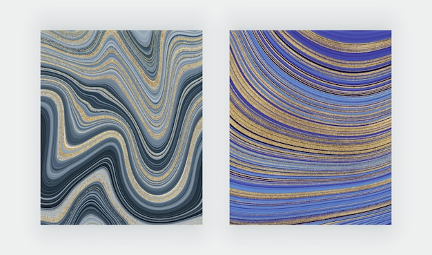 Set liquid marble texture. blue and golden glitter ink painting abstract pattern.