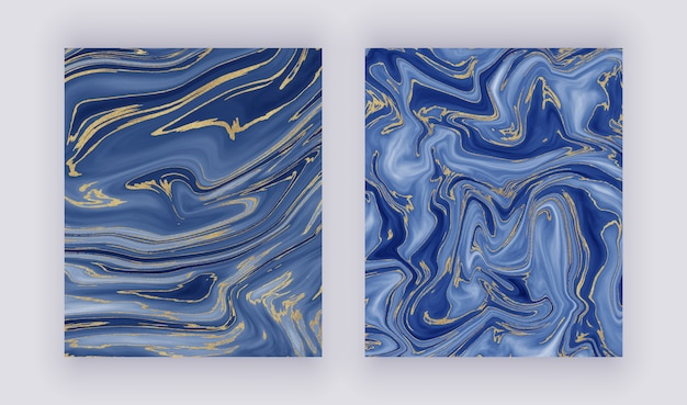 Set liquid marble texture. blue and golden glitter ink painting abstract pattern