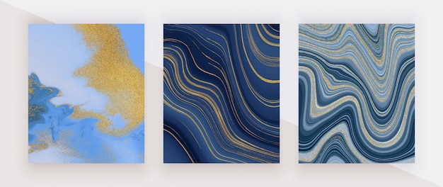 Set liquid marble texture. blue and golden glitter ink painting