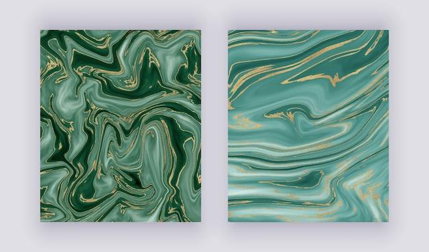 Set liquid marble texture. green and golden glitter ink painting abstract pattern.