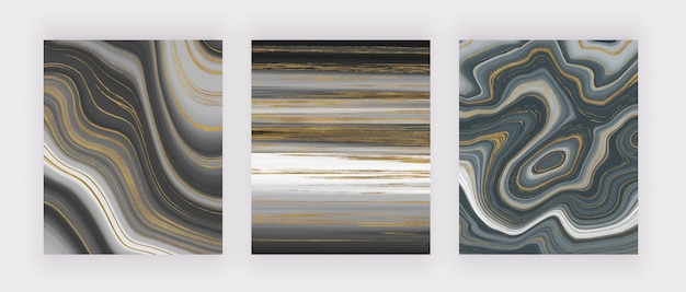 Set liquid marble texture. grey and golden glitter ink painting abstract pattern.